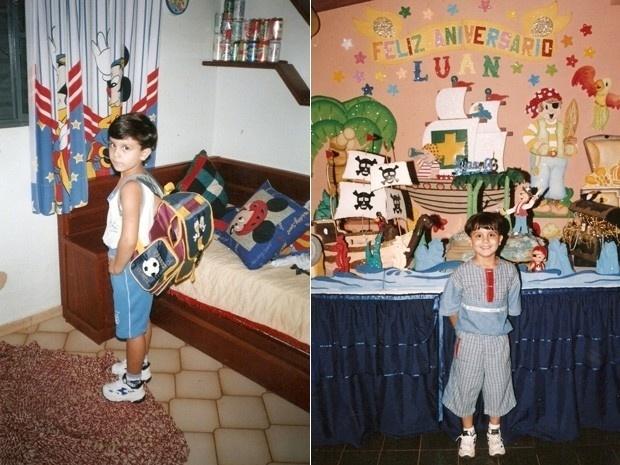 Luan pronto para ir para a escola de um lado; de outro, em um dos seus aniversários