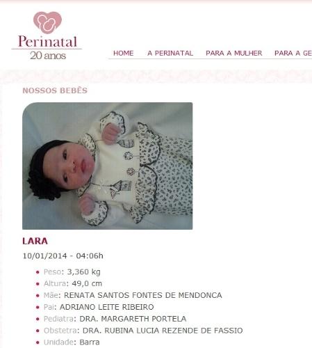 10.jan.2014 - Nasce a filha do jogador Adriano com a ex-namorada Renata Fontes