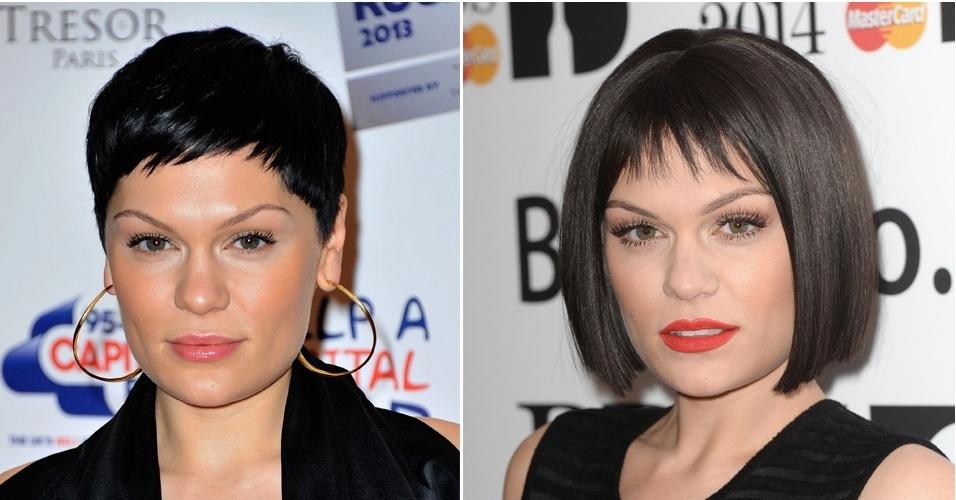 JANEIRO - Durante sua passagem pelo tapete vermelho do show que anunciou os nomeados para o BRIT Awards 2014, Jessie J mostrou o novo visual, com fios mais longos e franja curta na testa. O look lembra bastante o estilo adotado pela cantora no início da carreira