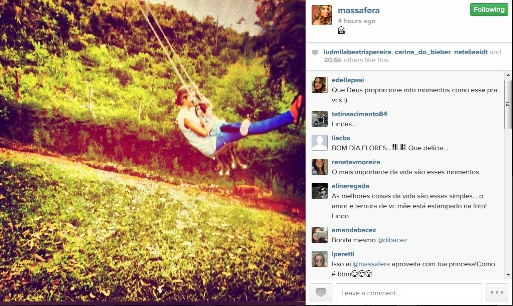 13.jan.2014 - Grazi Massafera passa a amanhã brincando com a filha