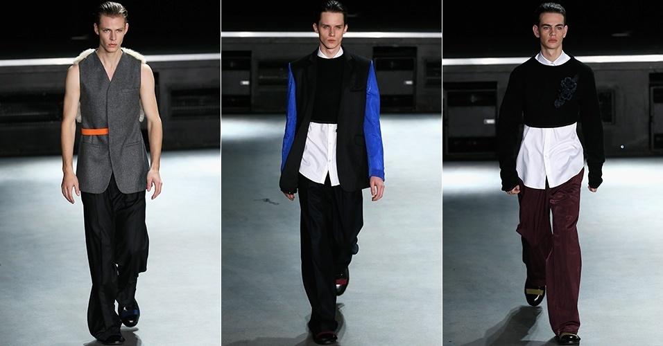 15 jan. 2014 - Modelos desfilam looks da 22/04 Hommes para o Inverno 2014 durante a semana de moda masculina de Paris