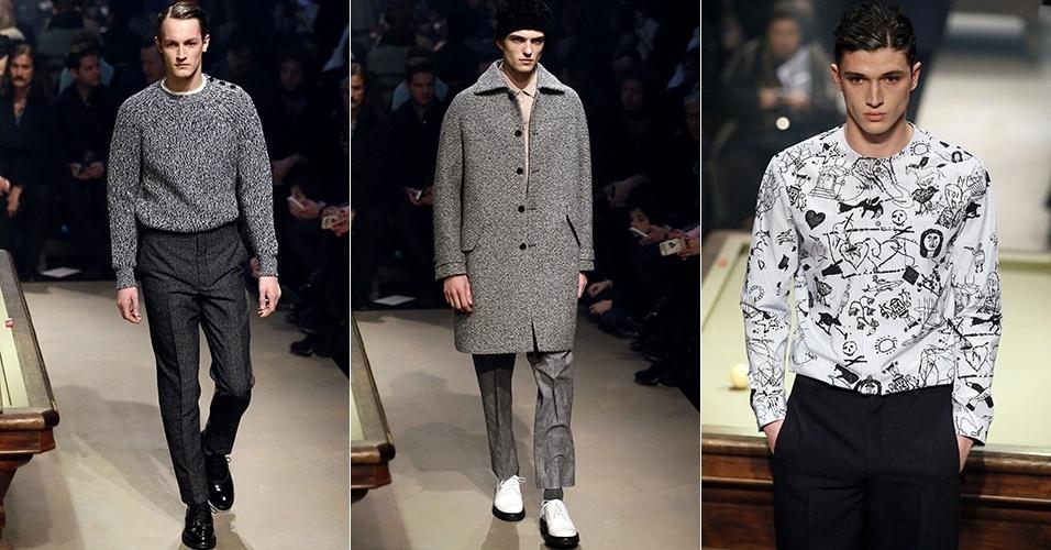15 jan. 2014 - Modelos desfilam looks da Carven para o Inverno 2014 durante a semana de moda masculina de Paris