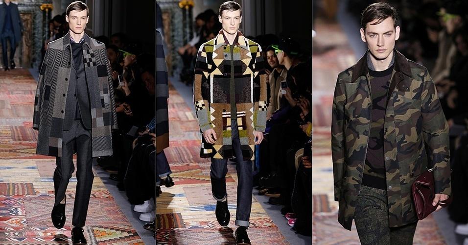15 jan. 2014 - Modelos desfilam looks da Valentino para o Inverno 2014 durante a semana de moda masculina de Paris