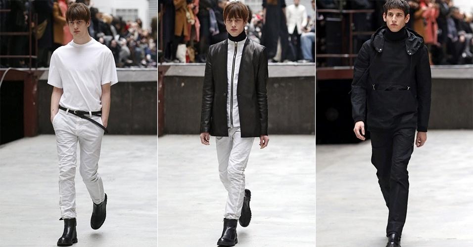 15 jan. 2014 - Modelos desfilam looks da Y/Project para o Inverno 2014 durante a semana de moda masculina de Paris