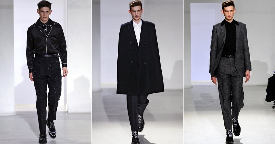 15 jan. 2014 - Modelos desfilam looks de John Lawrence Sullivan para o Inverno 2014 durante a semana de moda masculina de Paris
