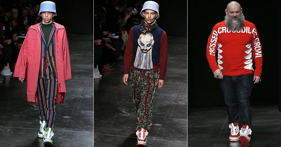 15 jan. 2014 - Modelos desfilam looks de Walter Van Beirendonck para o Inverno 2014 durante a semana de moda masculina de Paris