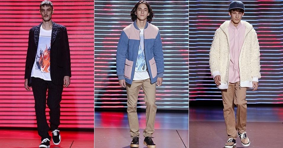 15 jan. 2014 - Modelos desfilam looks de Julien David para o Inverno 2014 durante a semana de moda masculina de Paris