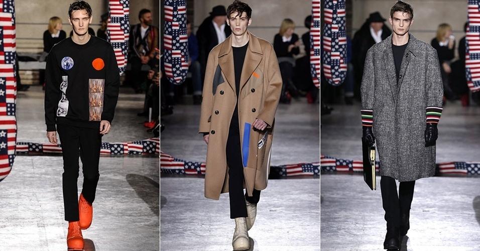 15 jan. 2014 - Modelos desfilam looks de Raf Simons para o Inverno 2014 durante a semana de moda masculina de Paris