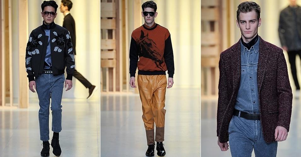 16 jan. 2014 - Modelos desfilam looks da 3.1 Phillip Lim para o Inverno 2014 durante a semana de moda masculina de Paris