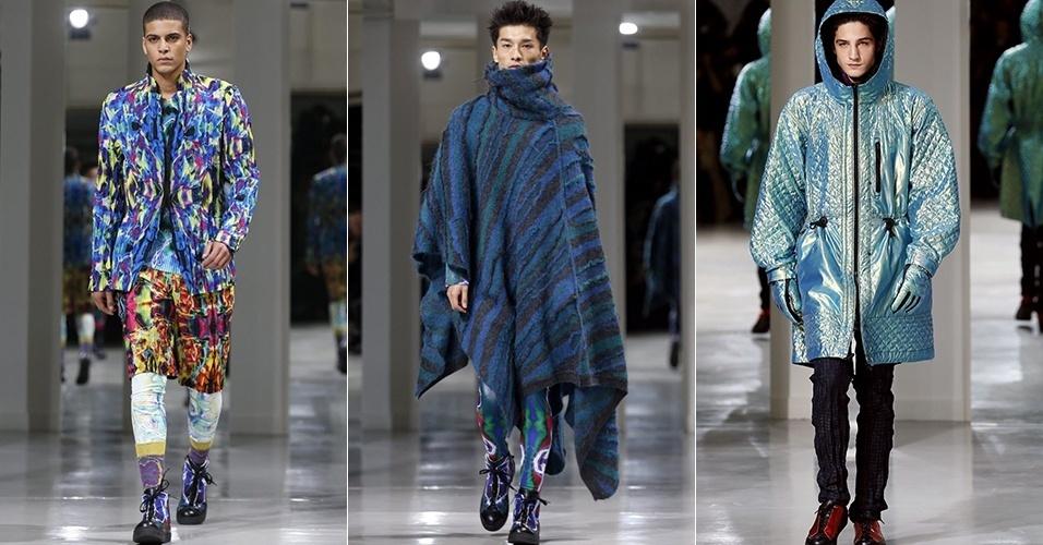16 jan. 2014 - Modelos desfilam looks da Issey Miyake Men para o Inverno 2014 durante a semana de moda masculina de Paris