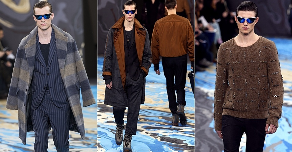 16 jan. 2014 - Modelos desfilam looks da Louis Vuitton para o Inverno 2014 durante a semana de moda masculina de Paris