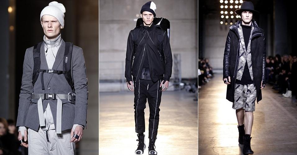 16 jan. 2014 - Modelos desfilam looks de Boris Bidjan Saberi para o Inverno 2014 durante a semana de moda masculina de Paris