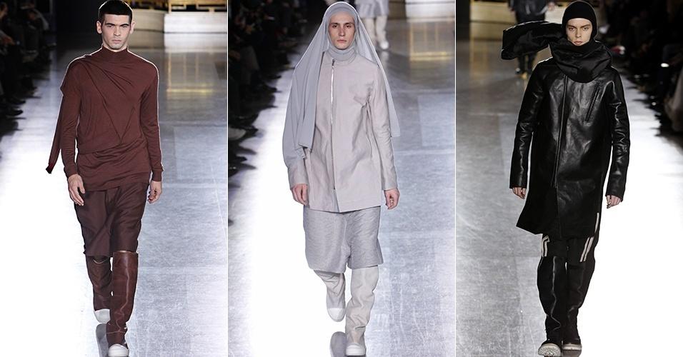 16 jan. 2014 - Modelos desfilam looks de Rick Owens para o Inverno 2014 durante a semana de moda masculina de Paris