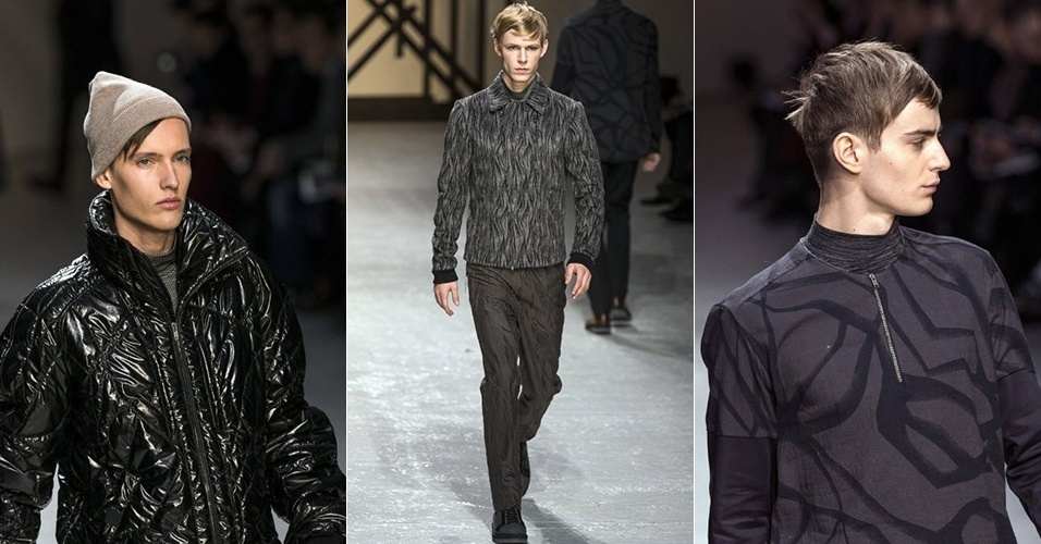 16 jan. 2014 - Modelos desfilam looks de Damir Doma para o Inverno 2014 durante a semana de moda masculina de Paris