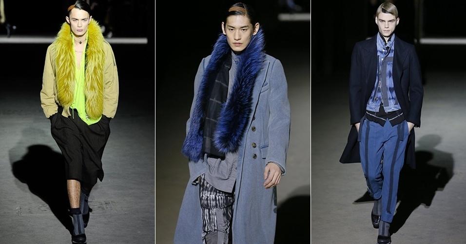 16 jan. 2014 - Modelos desfilam looks de Dries Van Noten para o Inverno 2014 durante a semana de moda masculina de Paris