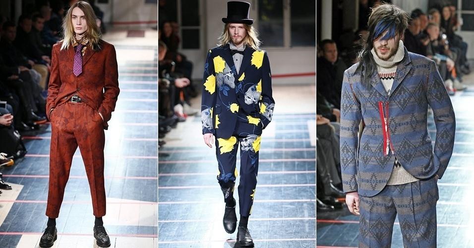 16 jan. 2014 - Modelos desfilam looks de Yohji Yamamoto para o Inverno 2014 durante a semana de moda masculina de Paris