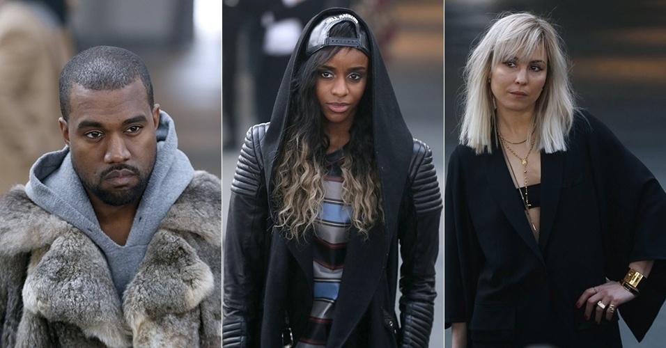 17 jan. 2014 - Kanye West, Angel Haze e Noomi Rapace posam antes do desfile da Givenchy para o Inverno 2014 durante a semana de moda masculina de Paris