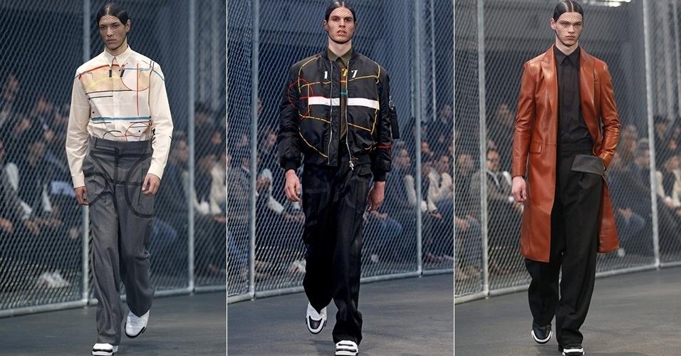 17 jan. 2014 - Modelos desfilam looks da Givenchy para o Inverno 2014 durante a semana de moda masculina de Paris