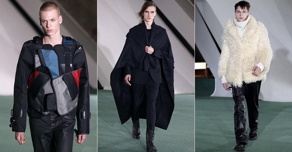 17 jan. 2014 - Modelos desfilam looks da Maison Martin Margiela para o Inverno 2014 durante a semana de moda masculina de Paris
