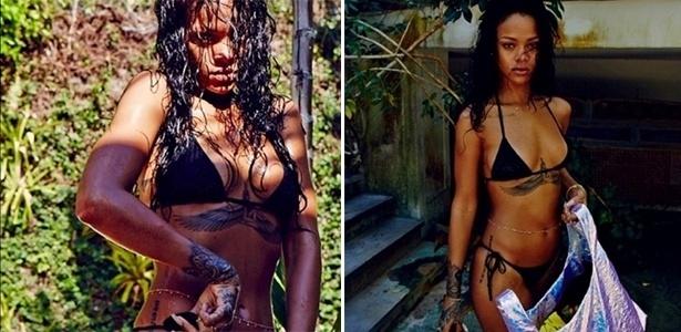 17.jan.2013 - Rihanna mostra foto de biquíni nos bastidores do ensaio fotográfico para a revista