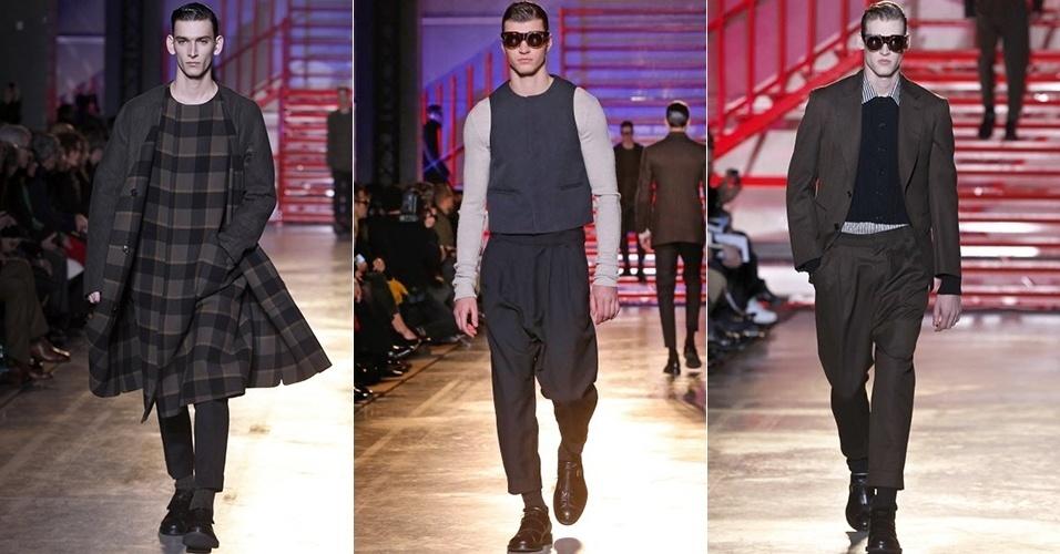 17 jan. 2014 - Modelos desfilam looks da Cerruti para o Inverno 2014 durante a semana de moda masculina de Paris