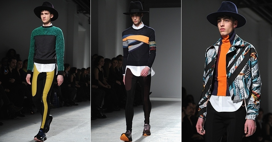 17 jan. 2014 - Modelos desfilam looks da John Galliano para o Inverno 2014 durante a semana de moda masculina de Paris