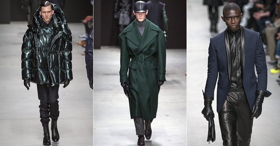 17 jan. 2014 - Modelos desfilam looks da Juun. J para o Inverno 2014 durante a semana de moda masculina de Paris