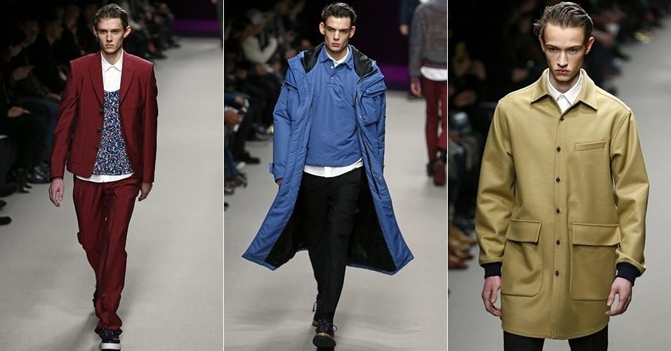 17 jan. 2014 - Modelos desfilam looks de Kris Van Assche para o Inverno 2014 durante a semana de moda masculina de Paris