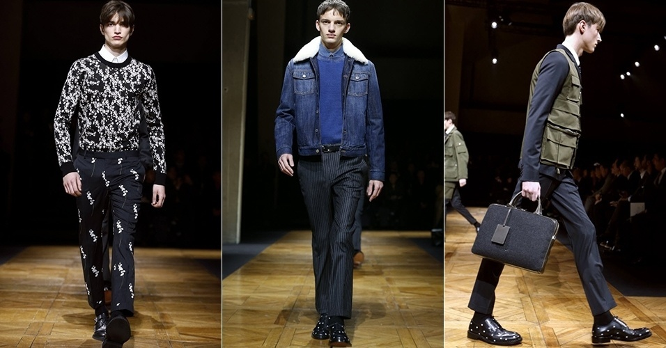 18 jan. 2014 - Modelos desfilam looks da Dior Homme para o Inverno 2014 durante a semana de moda masculina de Paris