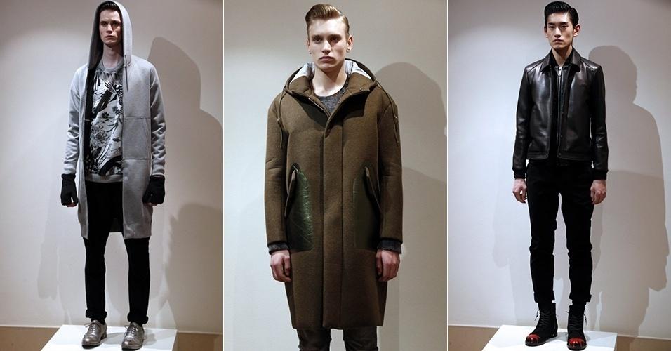 18 jan. 2014 - Modelos desfilam looks da Miharayasuhiro para o Inverno 2014 durante a semana de moda masculina de Paris