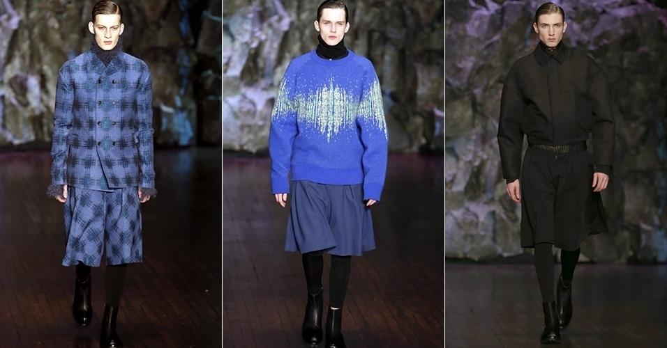 18 jan. 2014 - Modelos desfilam looks da Songzio para o Inverno 2014 durante a semana de moda masculina de Paris