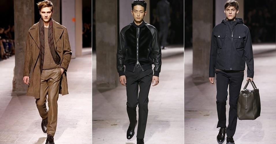 18 jan. 2014 - Modelos desfilam looks da Hermès para o Inverno 2014 durante a semana de moda masculina de Paris