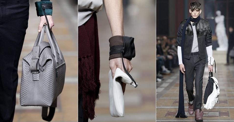 19 jan. 2014 - Modelos desfilam looks da Lanvin para o Inverno 2014 durante a semana de moda masculina de Paris