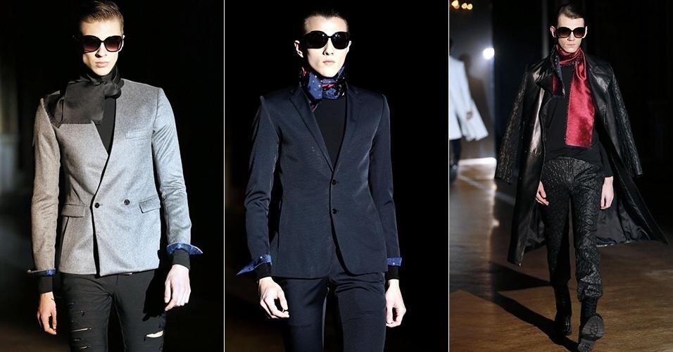 19 jan. 2014 - Modelos desfilam looks da Rynshu para o Inverno 2014 durante a semana de moda masculina de Paris