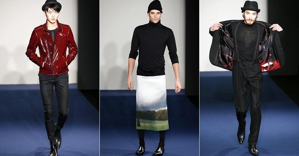 19 jan. 2014 - Modelos desfilam looks de Agnès B. para o Inverno 2014 durante a semana de moda masculina de Paris