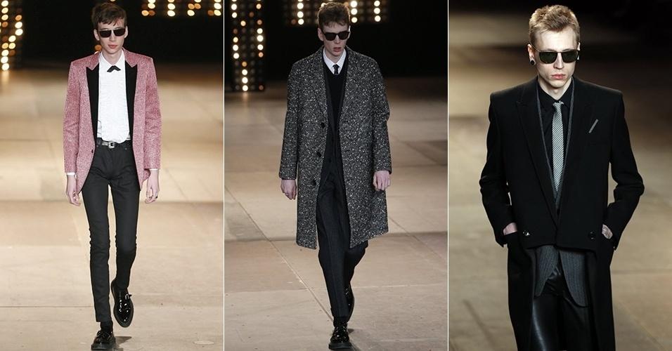 19 jan. 2014 - Modelos desfilam looks da Saint Laurent para o Inverno 2014 durante a semana de moda masculina de Paris