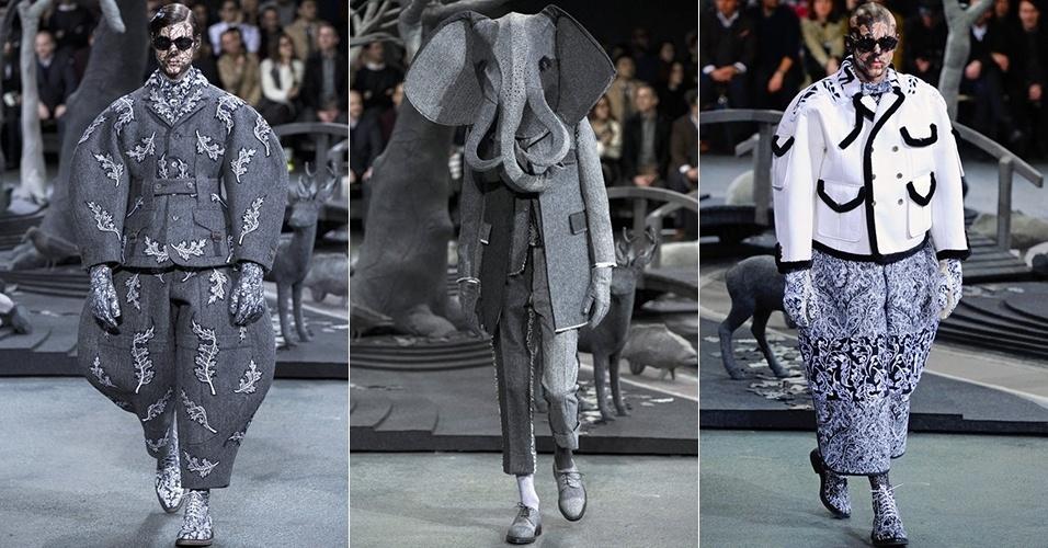 19 jan. 2014 - Modelos desfilam looks de Thom Browne para o Inverno 2014 durante a semana de moda masculina de Paris