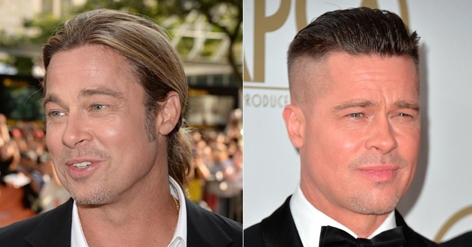 JANEIRO - Durante a entrega do SAG Awards, Brad Pitt mostrou seu novo visual. Antes com os fios loiros e compridos (presos muitas vezes em um coque despojado na altura da nuca), agora o cabelo do ator está curto e com as laterais raspadas
