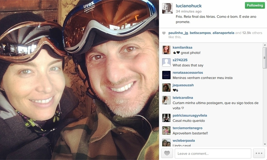 21.jan.2014 - Angelica e Luciano Huck curtem estação de esqui agarradinhos