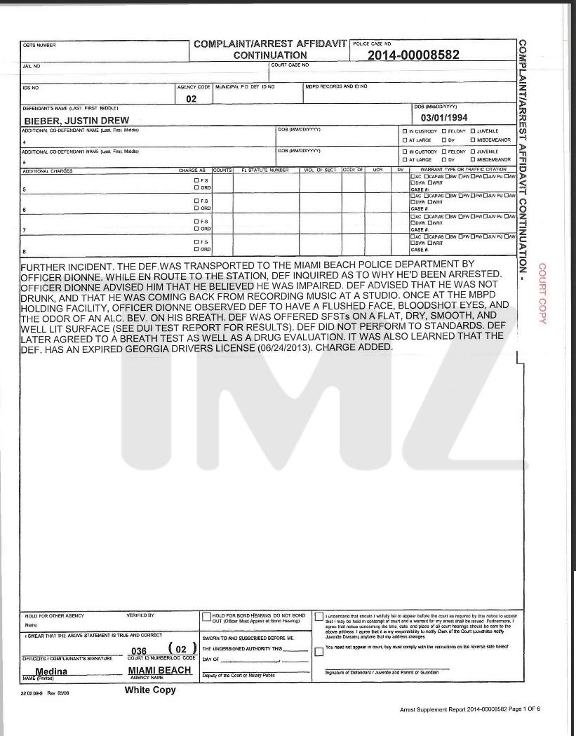 23.jan.2014 - Depoimento de Justin Bieber a polícia de Miami, após ser detido bêbado e disputando racha