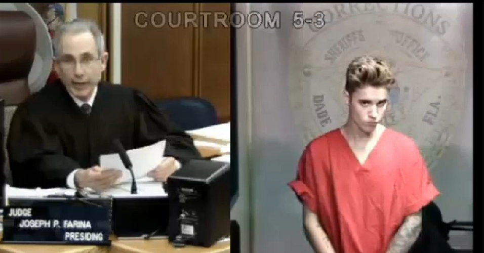 23.jan.2014 - Justin Bieber compareceu ao tribunal. Ele foi condenado a pagar fiança de US$ 2.500