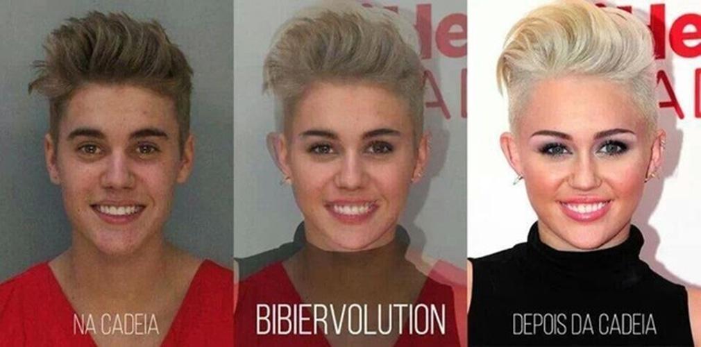 Após ser preso por dirigir alcoolizado, Justin Bieber virou piada na internet. A foto onde aparece sorrindo ao ser fichado virou alvo de montagens feitas pelos internautas. O astro pop chegou a ser comparado com Miley Cyrus