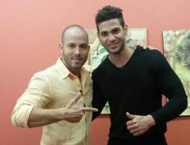 Rodrigo e João nos bastidores do programa