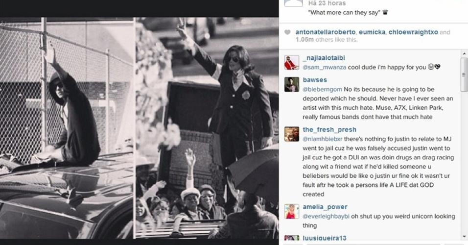 24.jan.2014 - Justin Bieber se compara a Michael Jackson em primeira foto publicada por ele após deixar prisão