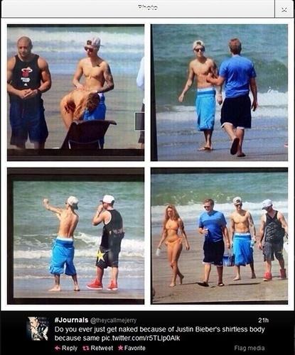26.jan.2014 - Fã flagra Justin Bieber curtindo praia no Panamá, dias após ser detido pela polícia
