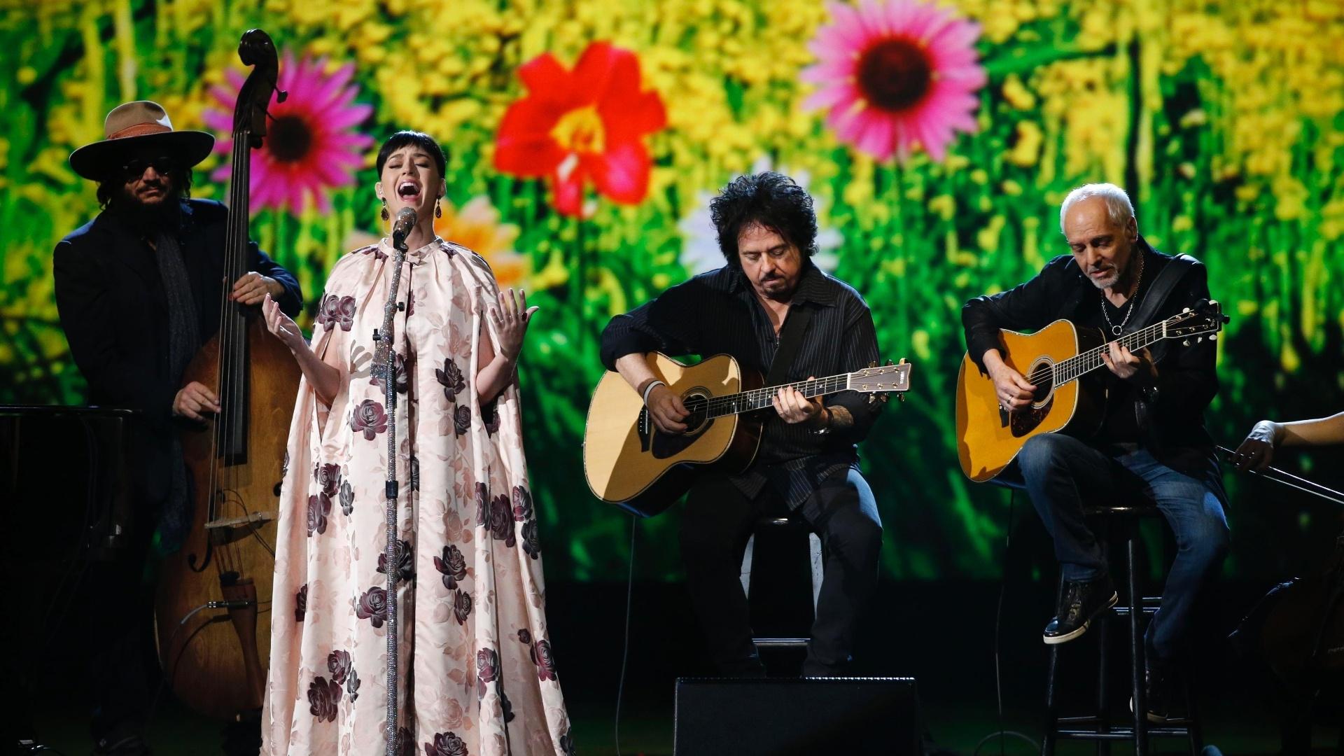 27.jan.2014 - A cantora Katy Perry participa da gravação do especial