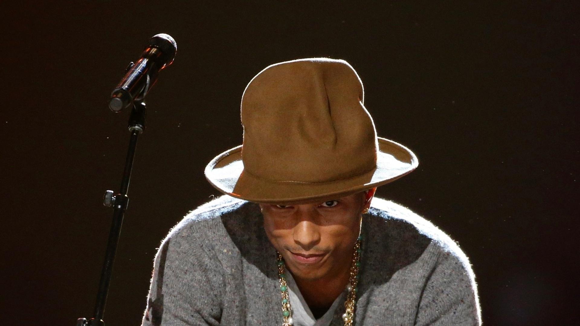 27.jan.2014 - O produtor e músico Pharrell Williams participa da gravação do especial