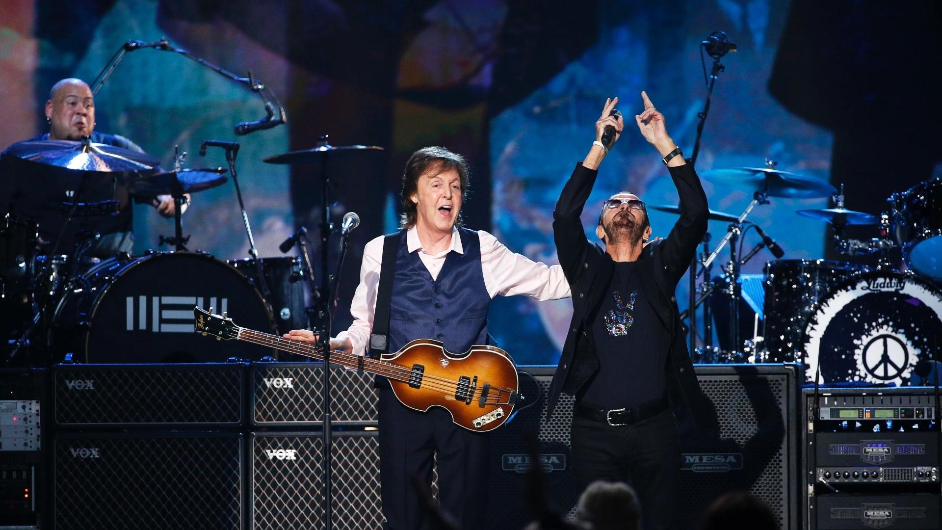 27.jan.2014 - Paul McCartney e Ringo Starr durante gravação do especial