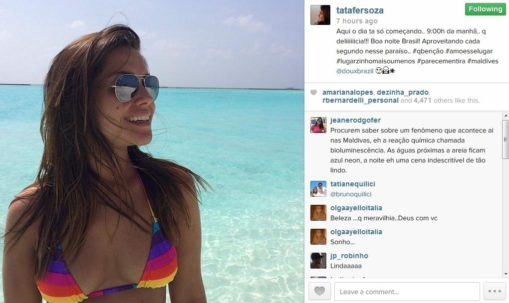 28.jan.2014 - Michel Teló e Thais Fersoza curtem férias nas Ilhas Maldivas