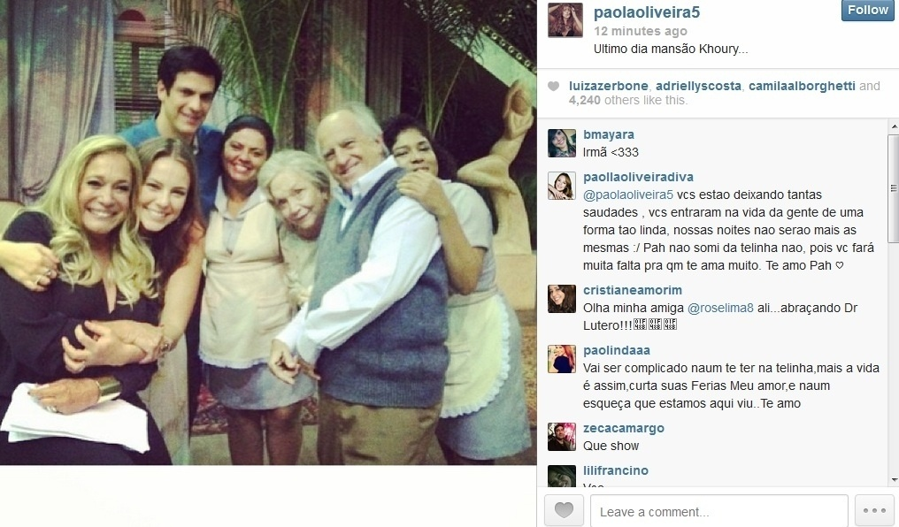 29.jan.2013 - Paolla Oliveira divulgou imagem dos últimos dias de gravações de